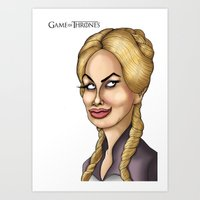 lannister Art Prints featuring Cersei Lannister Game of thrones Caricature Cartoon Artwork  by GinjaNinja1801