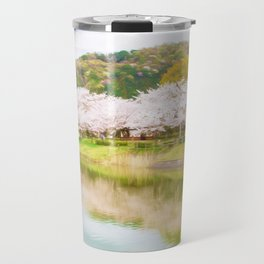 Cherry tree and pond Travel Mug