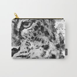 Black And White Half Faced Leopard Carry-All Pouch