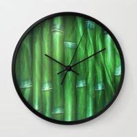 bamboo Wall Clocks featuring Bamboo by Digital-Art