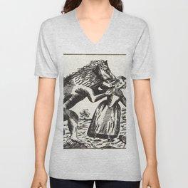 Werewolf attack Medieval etching Unisex V-Neck