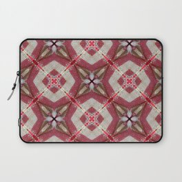 Holiday Red, Cream and Gold Burlap Plaid Pattern Laptop Sleeve