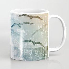 Free Like A Bird Seagull Mixed Media Art Coffee Mug
