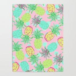 Pineapple Pandemonium Tropical Spring Poster