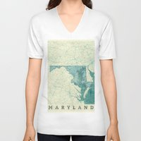 maryland V-neck T-shirts featuring Maryland State Map Blue Vintage by City Art Posters