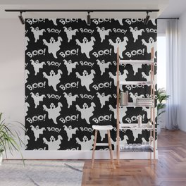 Cool black white ghost halloween boo typography Wall Mural