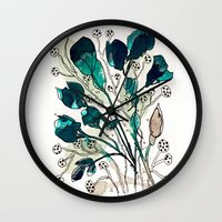 emerald Wall Clocks featuring Emerald by Tonya Doughty