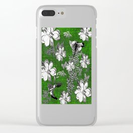 Birds Green Gray White Toile Clear iPhone Case