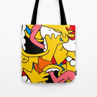 simpsons Tote Bags featuring Simpsons by Startled Artist