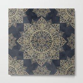 Elegant poinsettia flower and snowflakes mandala art Metal Print