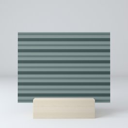 Night Watch Color of the Year PPG1145-7 Thick and Thin Horizontal Stripes on Scarborough Green Mini Art Print