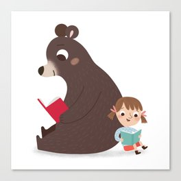 Reading with Bear Canvas Print