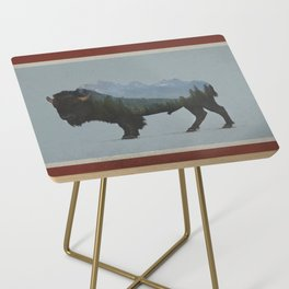 Wyoming Bison Flag Side Table