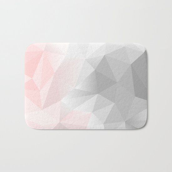 pink and gray geometric low poly background Bath Mat
