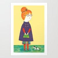 redhead Art Prints featuring Redhead by Ana Albero