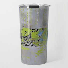 Teal & Lime Round Abstract Art Collage Travel Mug