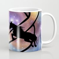 unicorns Mugs featuring Space Unicorns by haroulita
