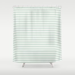 Mattress Ticking Narrow Horizontal Striped Pattern in Moss Green and White Shower Curtain