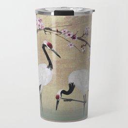 Cranes Under Cherry Tree Travel Mug