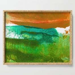 Encaustic Abstract No.27M by Kathy Morton Stanion Serving Tray