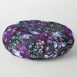 Deep Floral Chaos blue & violet Floor Pillow