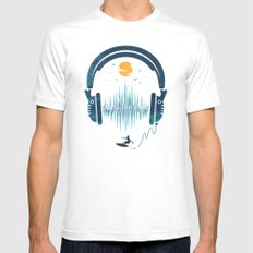 Summer Waves LARGE White Mens Fitted Tee
