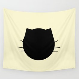 Black cat-Pastel yellow Wall Tapestry