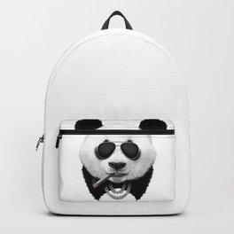 Panda in Black Backpack