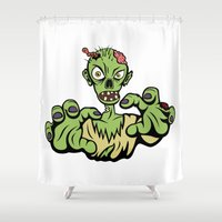 zombie Shower Curtains featuring Zombie! by Henry Meadowlark