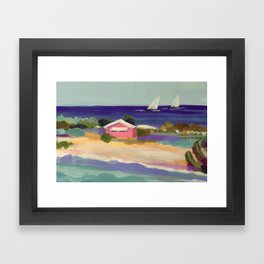PINK COTTAGE BEACH Framed Art Print