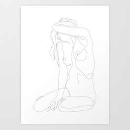 seclusion - one line nude Art Print