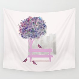 Park bench tree and birds Wall Tapestry