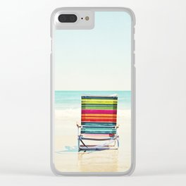 Beach Chair Photography, Colorful Coastal Ocean Landscape Clear iPhone Case