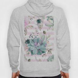 Succulents in the Garden Pink Stripes Hoody
