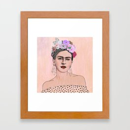 Peach Frida Kahlo Framed Art Print