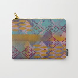 Orange leaves and pink flower pattern Carry-All Pouch
