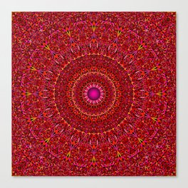 Red Jungle Mandala Canvas Print