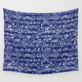 Hand Written Sheet Music // Midnight Blue Wall Tapestry