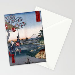 Hiroshige - 36 Views of Mount Fuji (1858) - 09: The Teahouse with the View of Mt. Fuji at Zōshigaya Stationery Cards