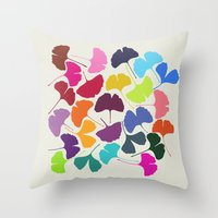 camus Throw Pillows featuring Ginkgo Multicolor by Garima Dhawan