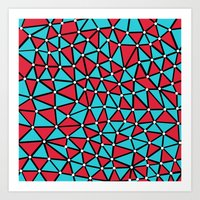 African Triangles Red and Blue Art Print