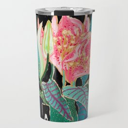 Swan Vase with Pink Lily Flower Bouquet on Dark Blue and Black Winter Floral Travel Mug
