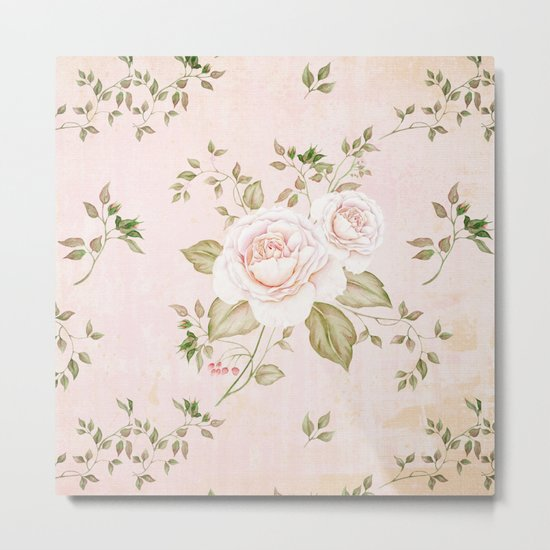 Vintage & Shabby -  floral roses flowers - Rose and Flower Metal Print