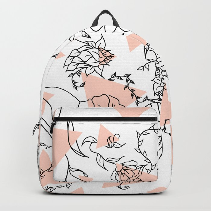 Modern hand drawn floral black illustration abstract blush pink geometric triangles Backpack
