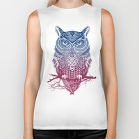 feathers Biker Tanks featuring Evening Warrior Owl by Rachel Caldwell