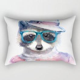 Cute fashion hipster animals pets raccoon Rectangular Pillow