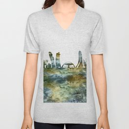 Abu Dhabi City Skyline Unisex V-Neck