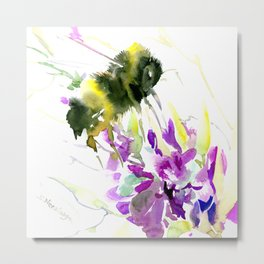 Bumblebee and Flowers floral bee design Metal Print