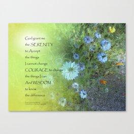 Serenity Prayer Bachelor's Buttons Canvas Print
