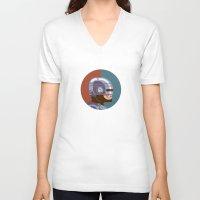 robocop V-neck T-shirts featuring Headgear - Robocop by Miguel Camilo